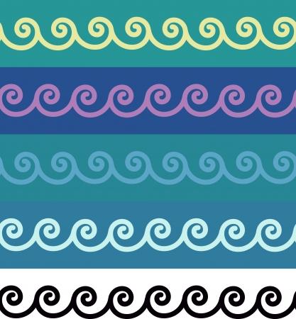 Espirales sin costura cenefas Vectores