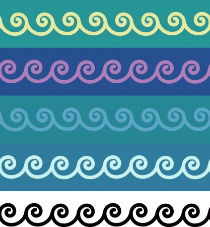 Seamless spirals ornamental borders Ilustração