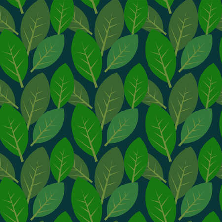 Seamless leaves pattern on dark blue background Stock Vector - 14004054