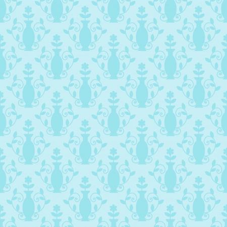 blue damask: Seamless light blue damask floral pattern