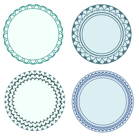Round labels with ornamental borders Illustration