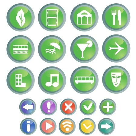 Travel and entertainment web buttons set Illustration
