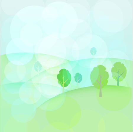 Landscape with trees and hills Vector
