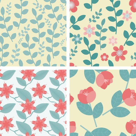 Four floral seamless patterns in light teal and red colors Vector