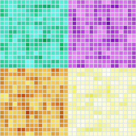 hues: Set of four colored mosaic backgrounds