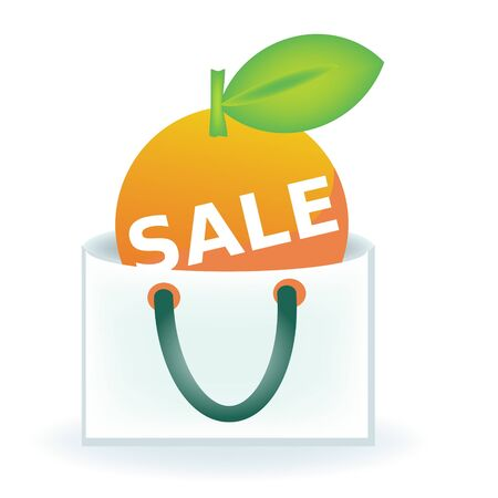 proposition: Sale label fruit shaped in the bag