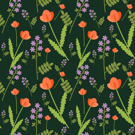 Seamless summer decorative floral background Vector