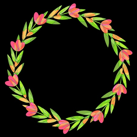 Decorative floral wreath on black background Stock Vector - 14383404