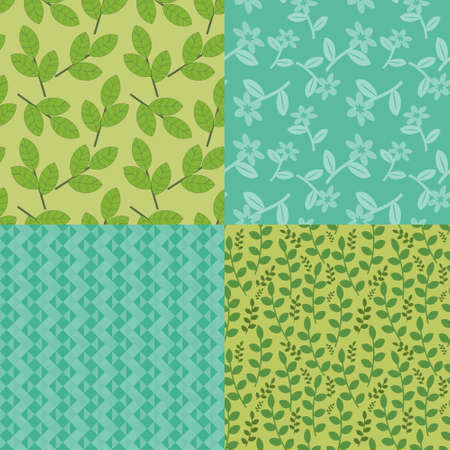 Green and blue seamless decorative patterns Vector