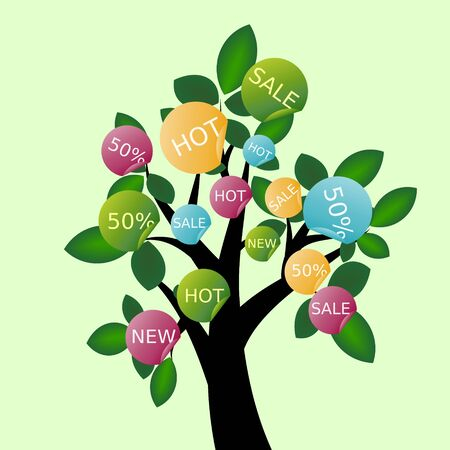 Decorative tree with sale stickers