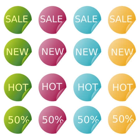 Sale stickers in four colors Stock Vector - 14471336