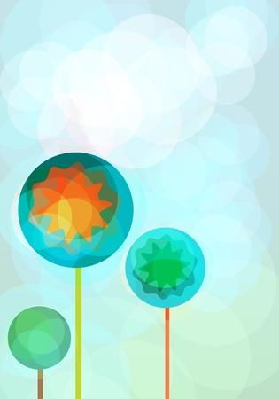Plantilla de la tarjeta abstracta con árboles decorativos
