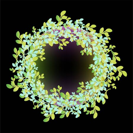 Decorative foliage glowing ring on black background Stock Vector - 14471277