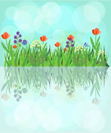Flowering field reflecting in the water Stock Vector - 14471268