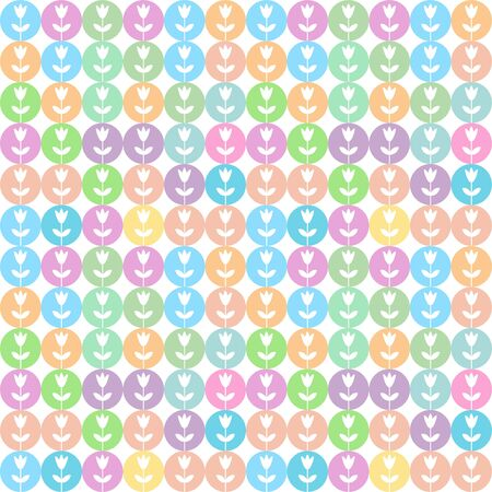 Multicolored circles mosaic seamless pattern with flowers Illustration