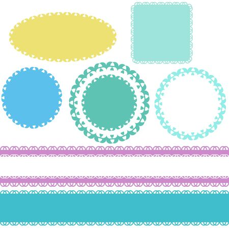 Seamless lace borders and labels Illustration