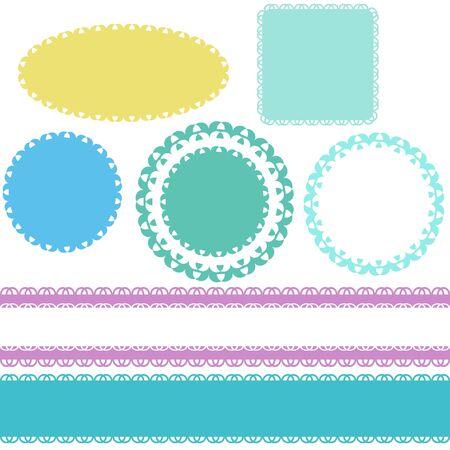Seamless lace borders and labels Ilustração
