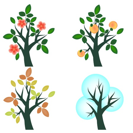 Seasonal trees set four seasons Stock Vector - 14471275