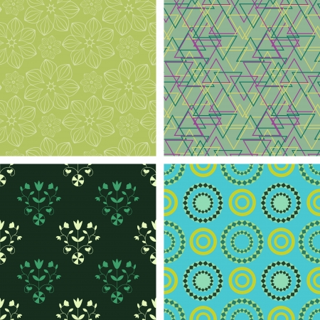Seamless decorative floral and abstract patterns Illustration