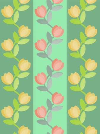 Seamless floral vines stripes wallpaper Vector