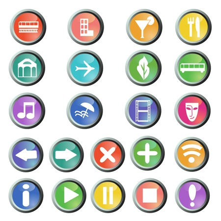 Travel and navigation round buttons set Vector