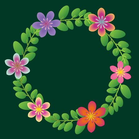 Floral wreath with ornamental flowers Vector