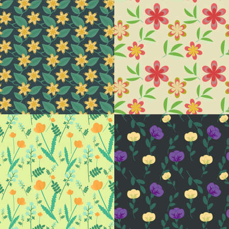 Four seamless floral patterns collection Vector