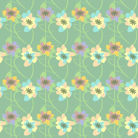 Abstract flowers seamless pattern Vector