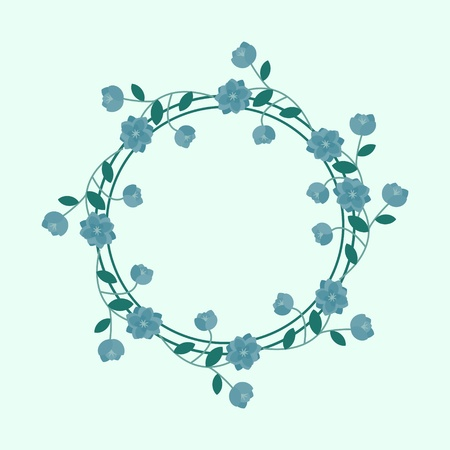 Blue floral frame background Vector