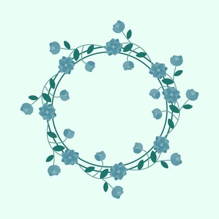 Blue floral frame background