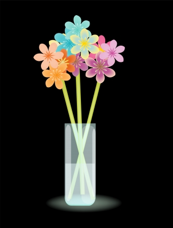 Multicolored stylized flowers in vase with water Vector