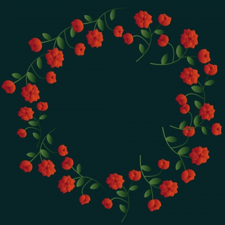 Red decorative floral wreath on dark Stock Vector - 14573468