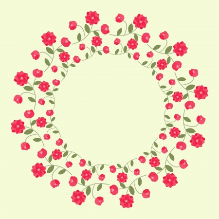 Decorative ornamental wreath with red flowers Vector