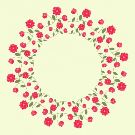 Decorative ornamental wreath with red flowers Ilustração