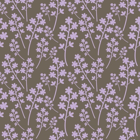 Seamless light violet flowers on grey Vector