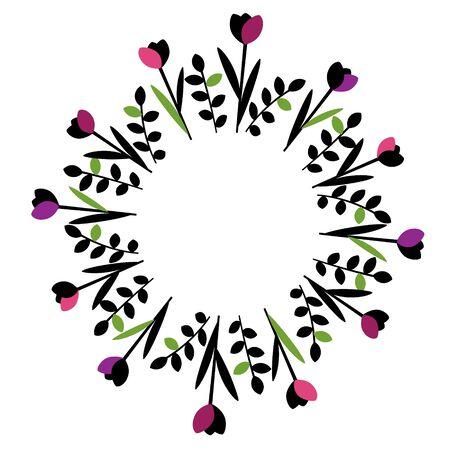 purple wreath: Decorative floral frame