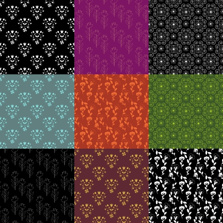 Set of 9 seamless decorative patterns Vector