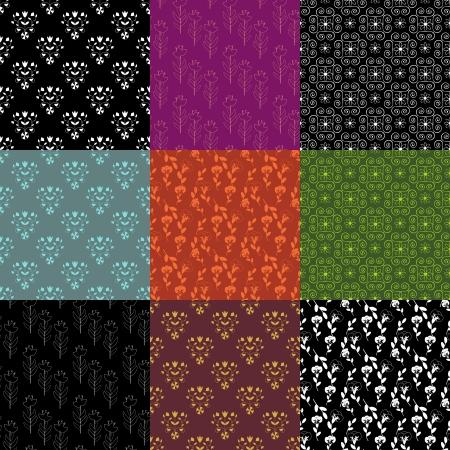 Set of 9 seamless decorative patterns
