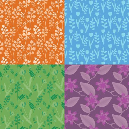 Seamless set of floral patterns Stock Vector - 14646181