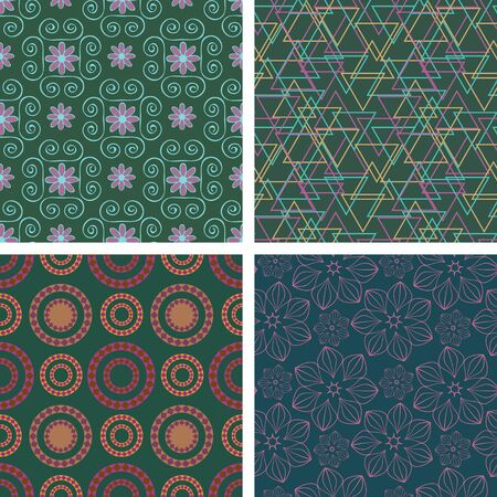 Set of decorative seamless patterns Vector
