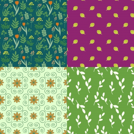 fabric textures: Collection of seamless floral patterns