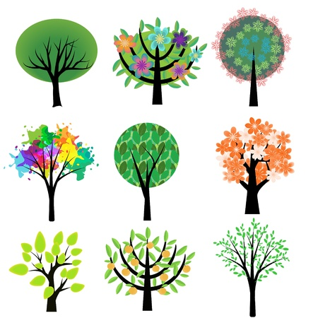 flowering in plants: Collection of various decorative trees Illustration