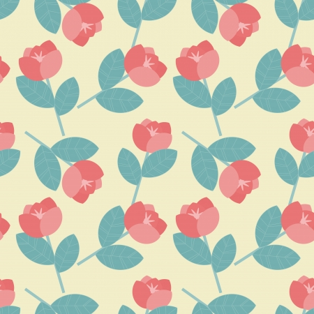 Red and green floral pattern on cream background