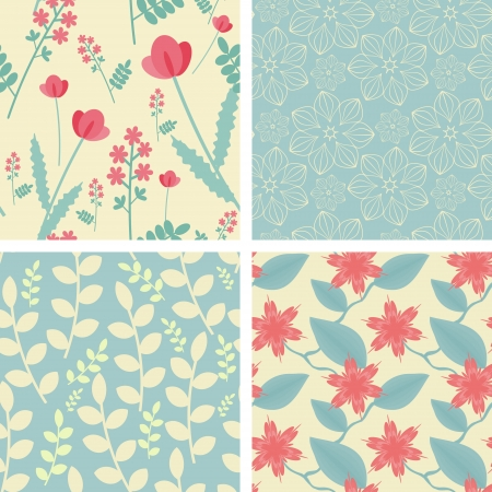 Four floral seamless patterns in light teal and red colors Фото со стока - 14993471