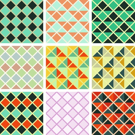 Seamless triangles and rhombus pattern collection Illustration