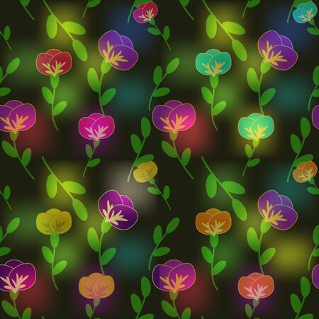 Multicolored shiny flowers background
