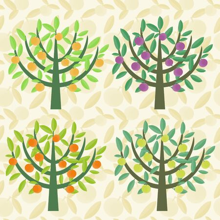 Fruit trees illustration Vector