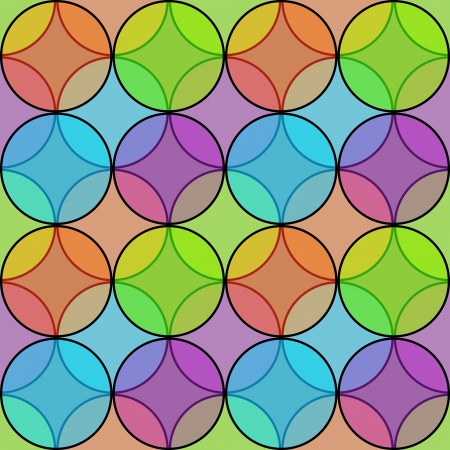 Seamless multicolored transparent circles pattern Vector