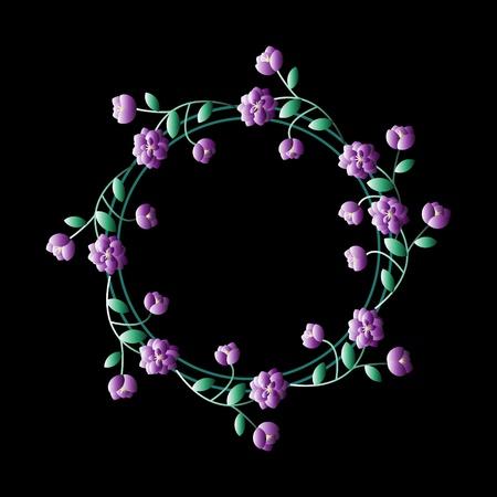 Floral frame with violet flowers Vector