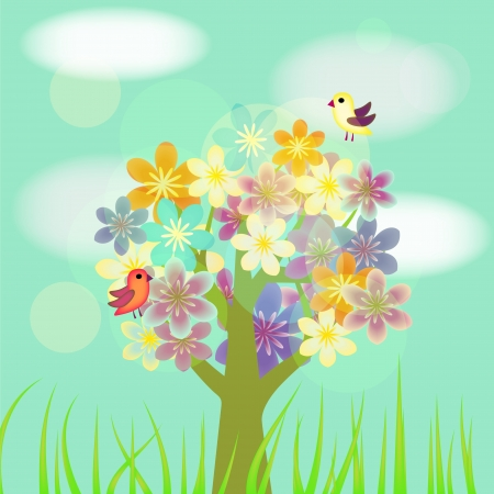Flowering decorative tree with birds and clouds Vector